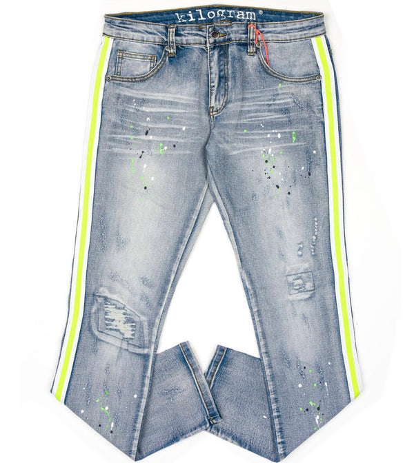 Kilogram Ice Blue Denim (Lime/White Stripe)