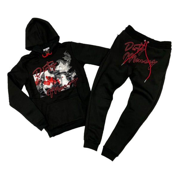 Retro Label Dirty Money Hoodie & Jogger Set (Retro 12 Flu Game)