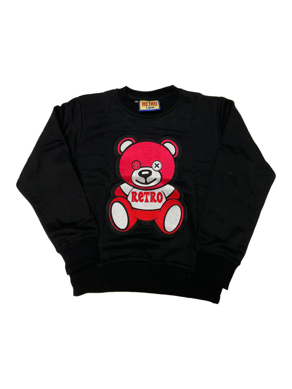 Retro Label Teddy Retro Crewneck (Black/Red)