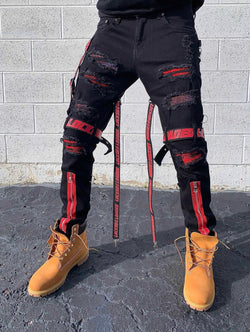 Locked & Loaded Jeans Split Straps and Stones (Black/Red)