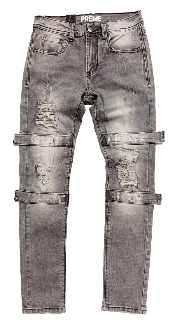 Preme Denim Berlin Grey Jeans (Clear Rhinestone Strap)