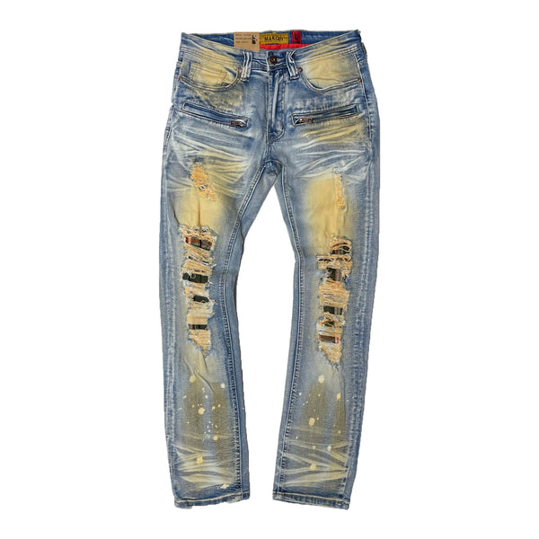 Makobi Shredded Jeans (Plaid Underlay)