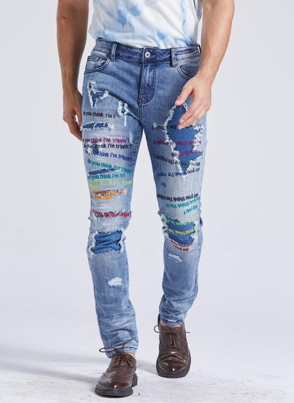 Foreign LocaL Slim Skinny Multicolor Embroidered Jean (Blue)