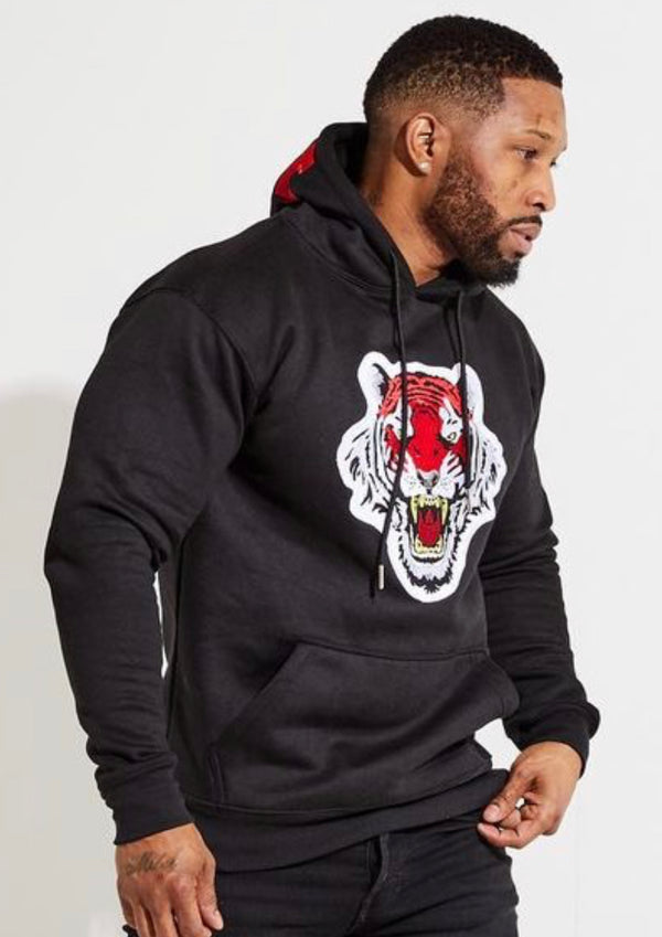 Icon Tiger Logo Hoodie (Black/Red)