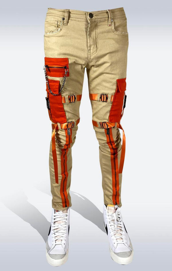 Preme Denim Cargo Zipper Jeans (Khaki/Orange)