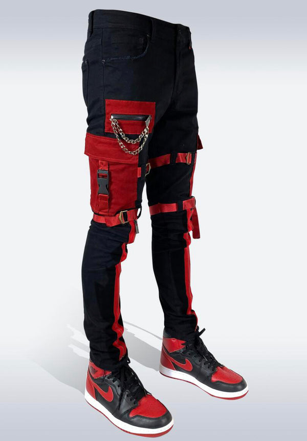 Preme Denim Cargo Zipper Jeans (Black/Red)