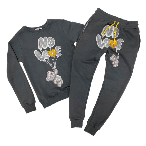 Retro Label No Love Air Crewneck & Jogger Set (Retro 3 Cool Grey)
