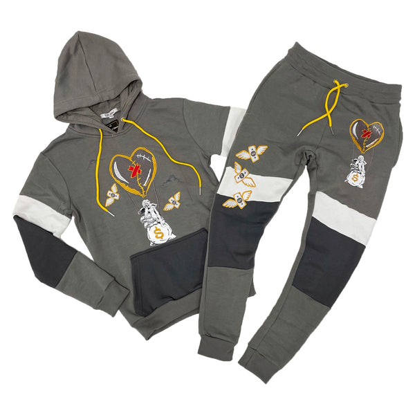 Retro Label Hot Air Hoodie & Jogger Set (Retro 3 Cool Grey)