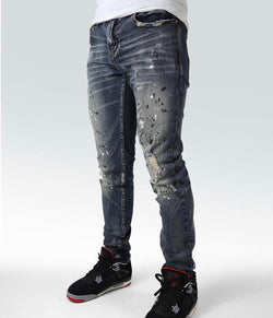 Preme Denim Osaka Indigo Jeans (Dark Wash B/W Paint Splatter)