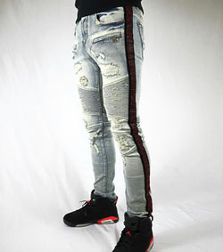 Preme Denim Rhinestone Striped Jeans (light wash/Red Stone)