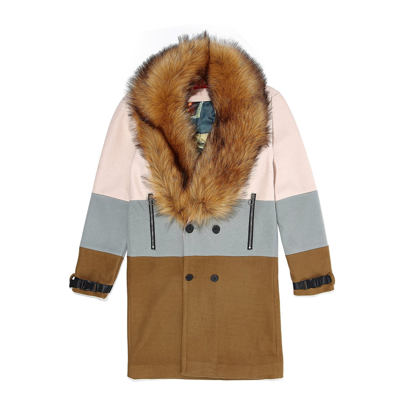 Vie Riche Removable Fur 3 Tone Overcoat (Beige)