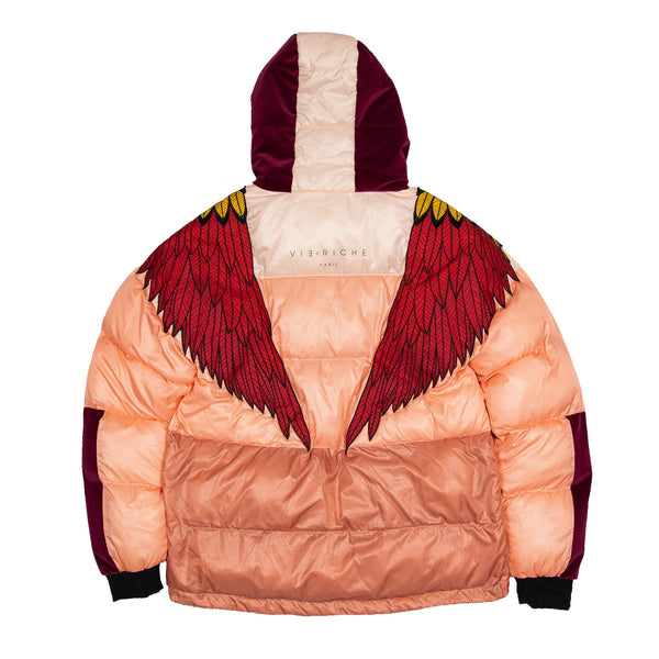 Vie Riche Embroidered Wings Bubble Coat (Coral)