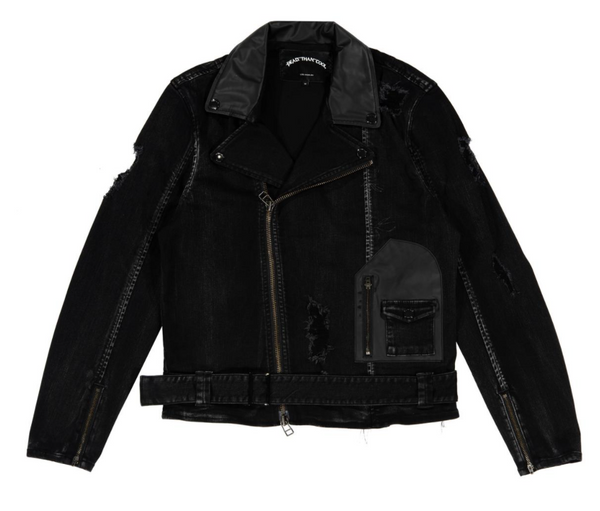 Dead Than Cool Techno Biker Denim Jacket (Black)