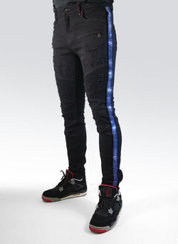 Preme Denim Rhinestone Buffalo Black Jeans (Blue Stripe)