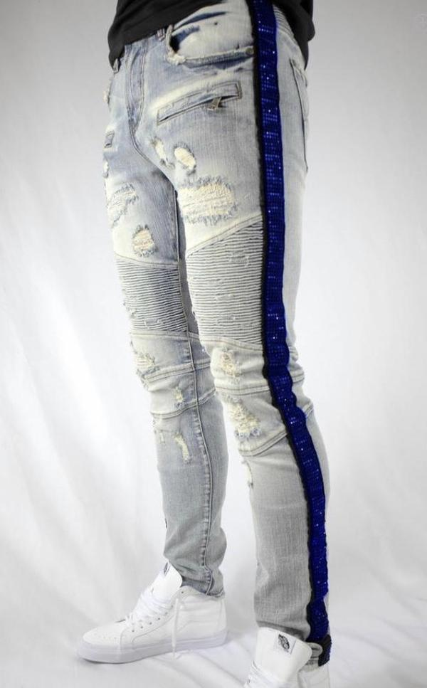 Preme Denim Rhinestone Striped Blue Jeans (Royal)