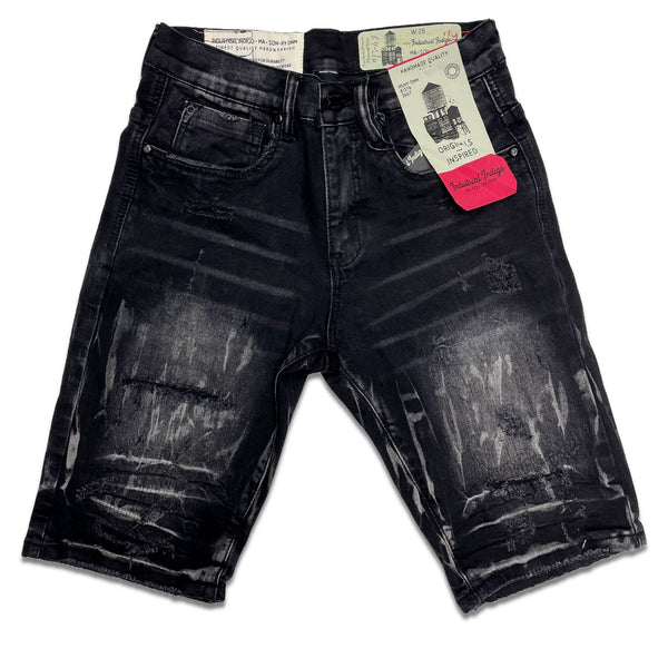 Industrial Indigo Denim Short (Charcoal Wash)