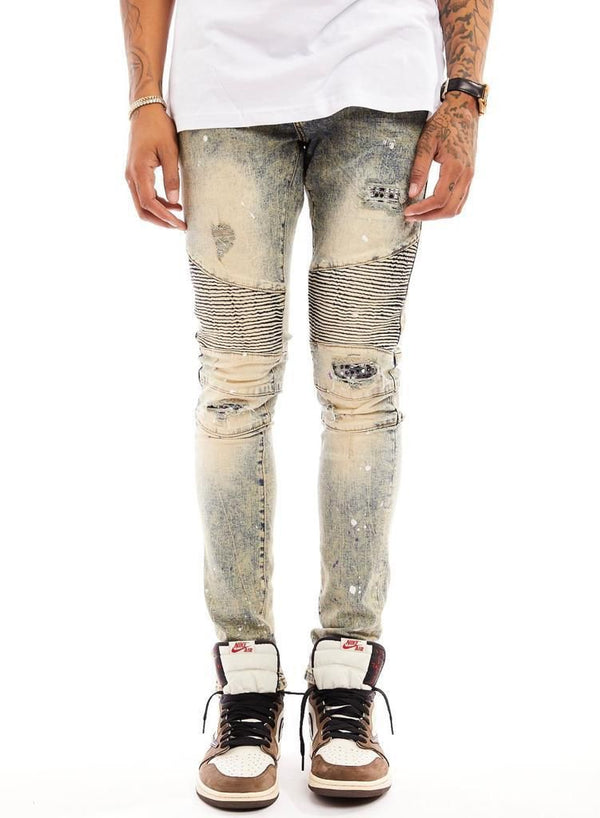 Damati Rip Rhinestone Denim (White/Purple Paint Splatter)