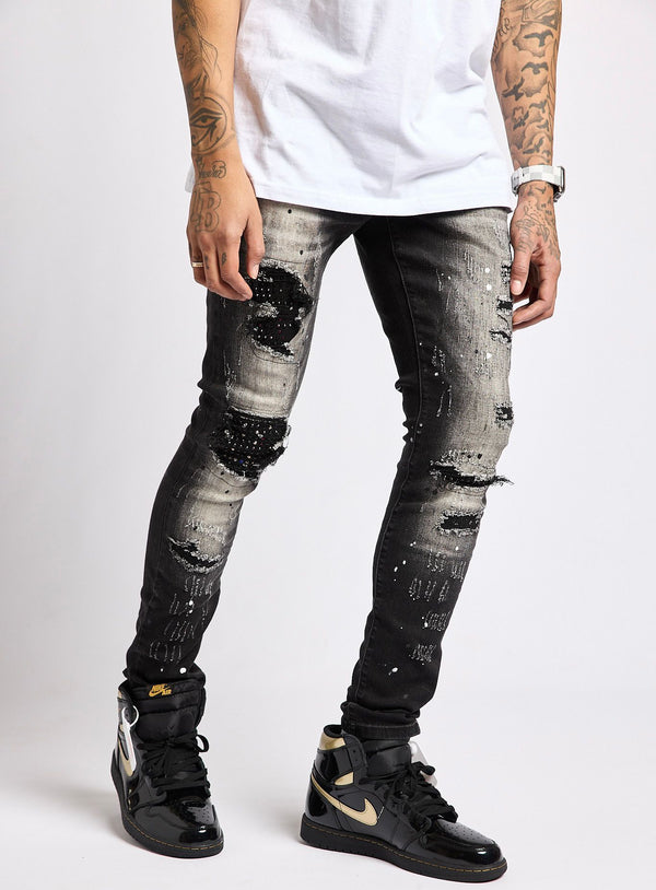 Damati Rip & Repair Denim (Black Wash/ White/Black Paint Splatter)