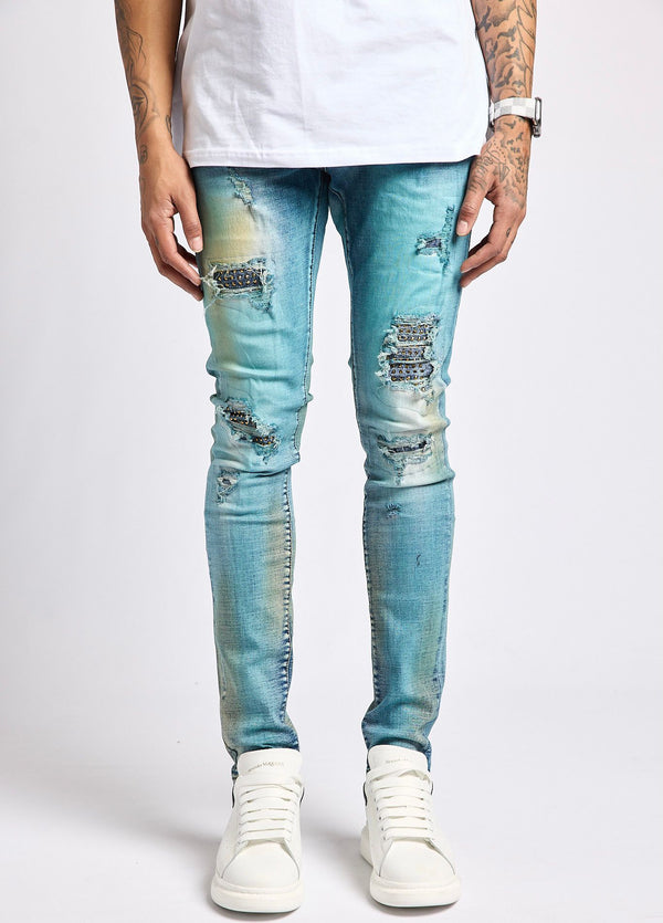 Damati Rip Rhinestone Denim (B Blue Wash)