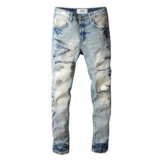 DNA Rips Denim Jeans (Black/White Paint Brushed)
