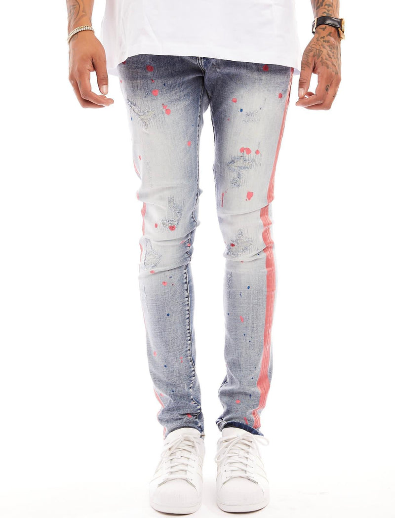 Damati Paint Splatter Denim (Red Stripe)