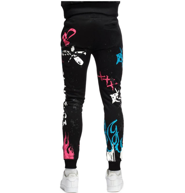 Smoke Rise Skull Graffiti Joggers (Black)