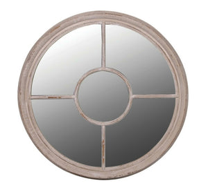 Limewashed Round Window Mirror