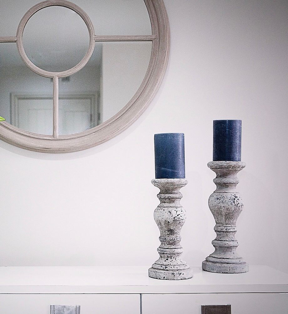 Marlowe Stone Candlestick Available In Two Sizes Charlested