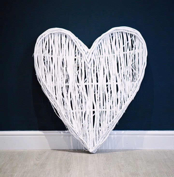 White Wicker Heart As Seen in Mrs Hinch home!