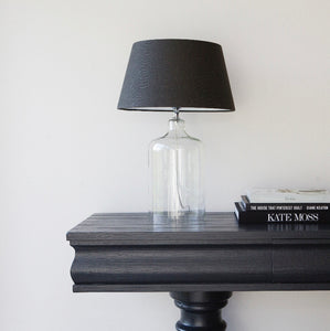 Luna Glass Lamp Base with Anthracite Linen Shade