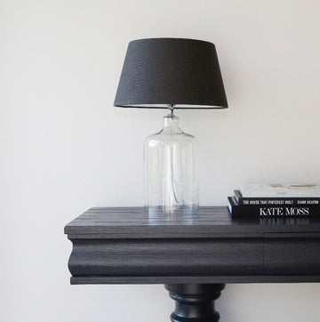 Luna Glass Lamp Base | Anthracite Linen Shade