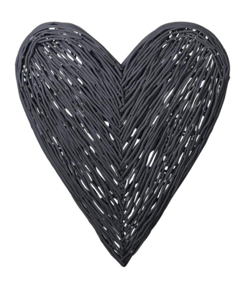 Olivia Large Wicker Heart Anthracite Grey