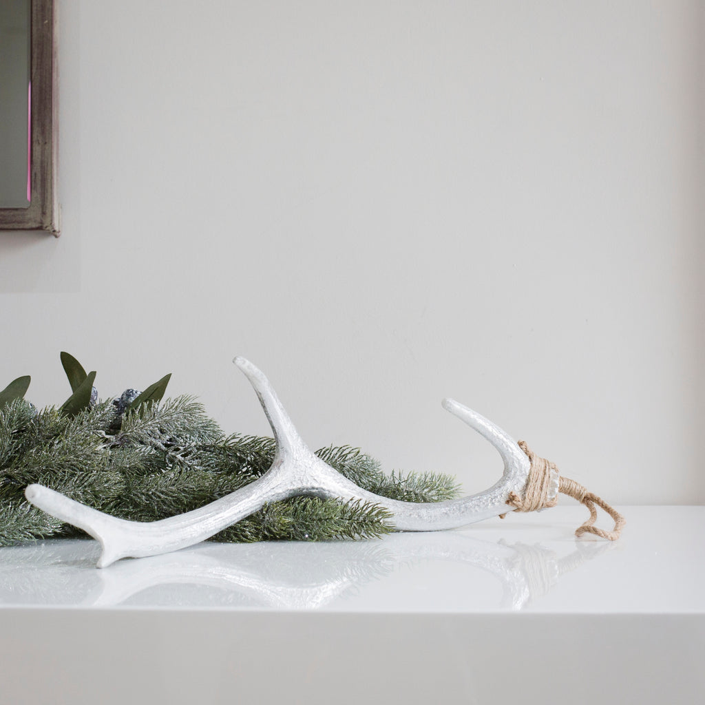 White Silver Antler Decoration