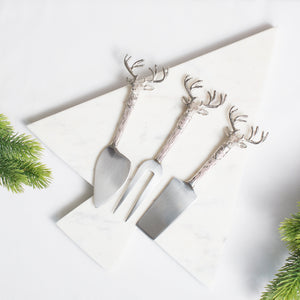 Set of Three Stag Cheese Knives