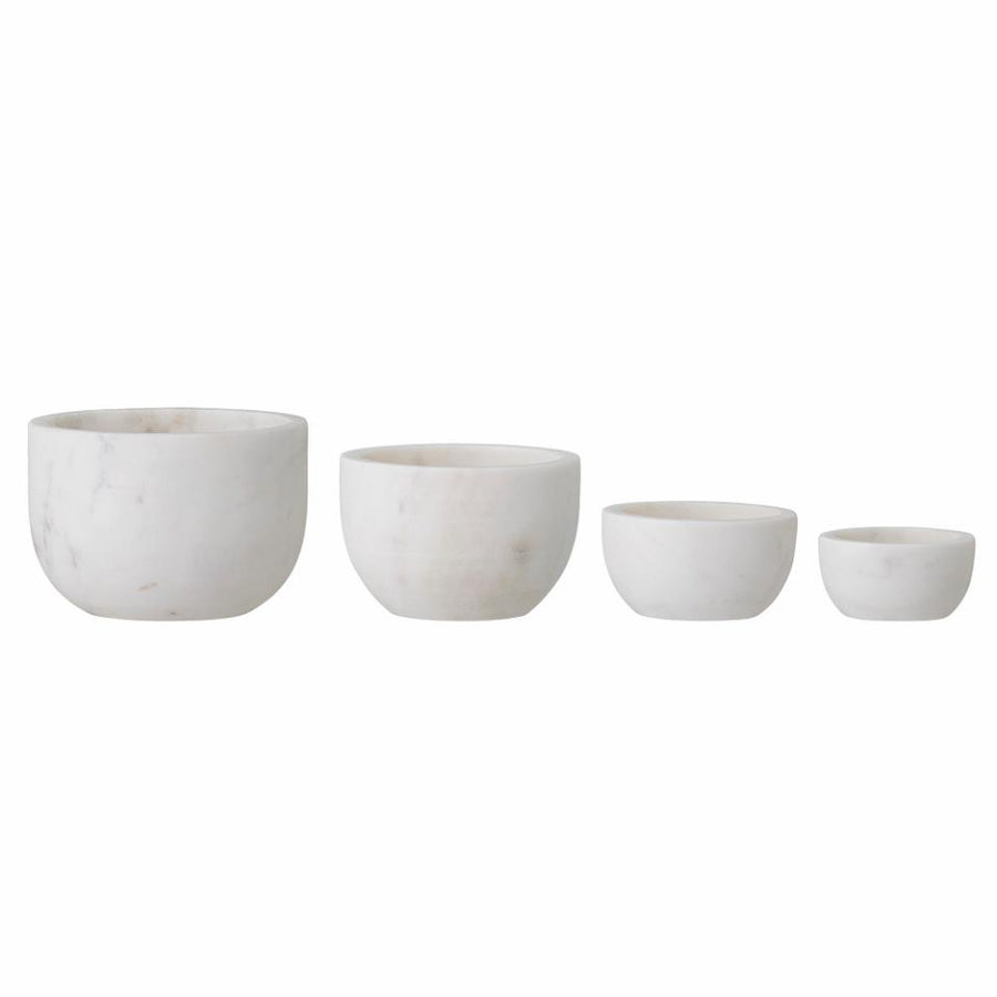 Set of Four White Marble Bowls
