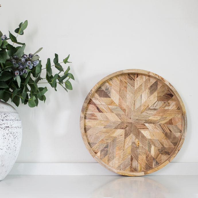 Louisa Wooden Round Tray