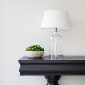 Luna Glass Lamp Base with Off White Linen Shade