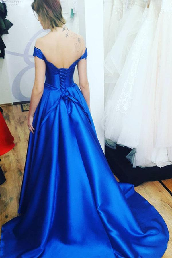 Royal Blue Sweetheart Off the Shoulder Satin Lace up Prom Dresses with Appliques PW682