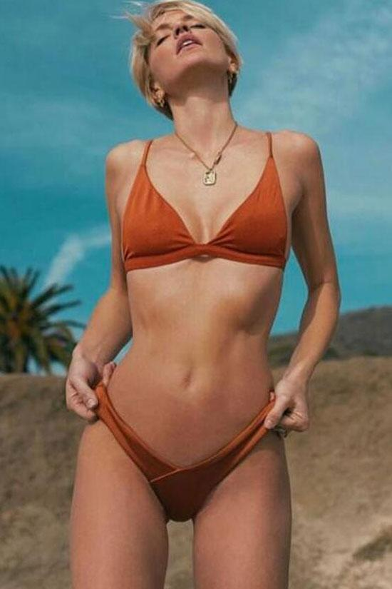 Solid Color Triangle Brazilian Bikini Swimsuit SB34
