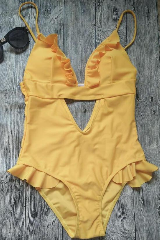 Chic Yellow Flounce Trim V-neck Monokini One-piece Swimsuit SK047