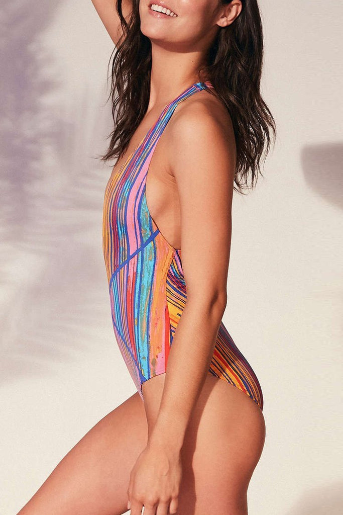 One Piece Colorful Stripe Plunged Monokini Swimsuit SO311