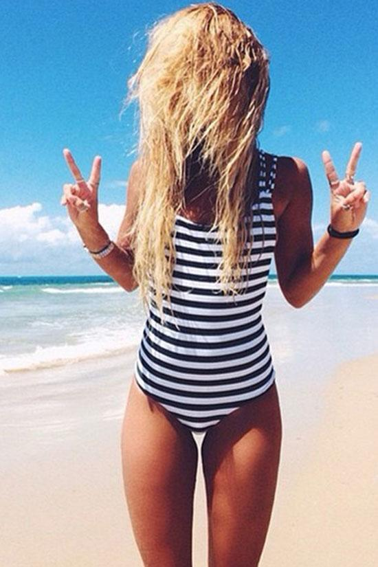 One Piece Black White Stripe Strappy Back Swimsuit SO054
