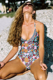 One Piece Colorful Pretty Blossoms Swimsuit SO467