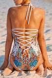One Piece White Boho Print Strappy Back Swimsuit SO404