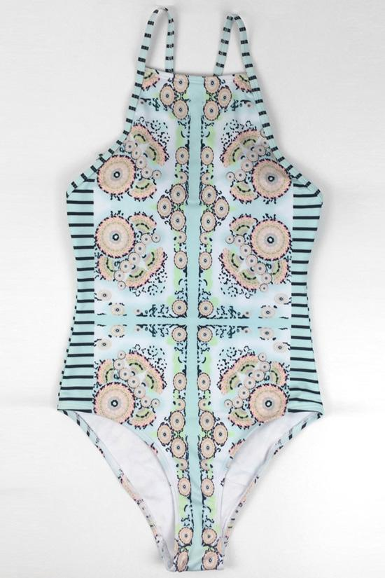 One Piece Light Blue Ethnic Floral Swimsuit SO190