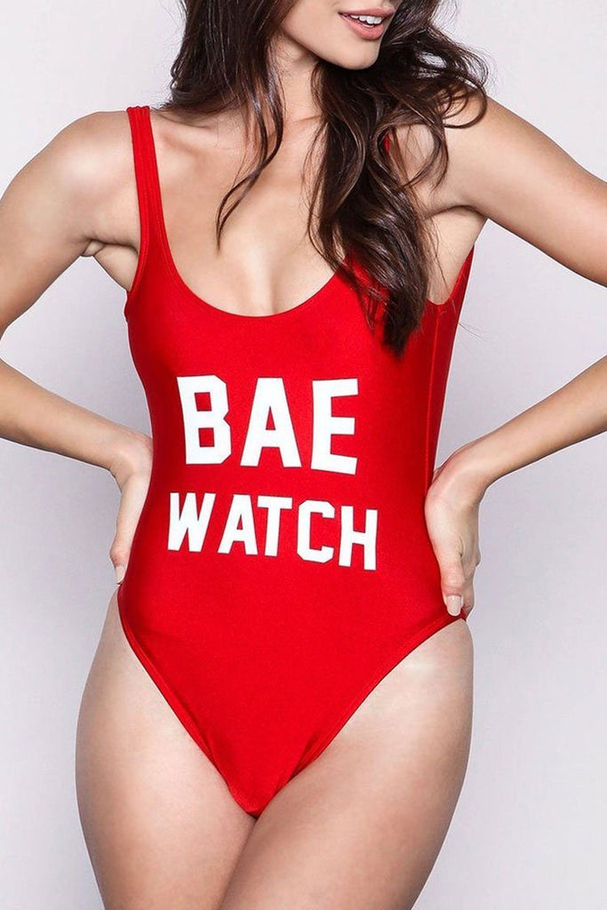 One Piece Red Slogan Swimsuit SO191