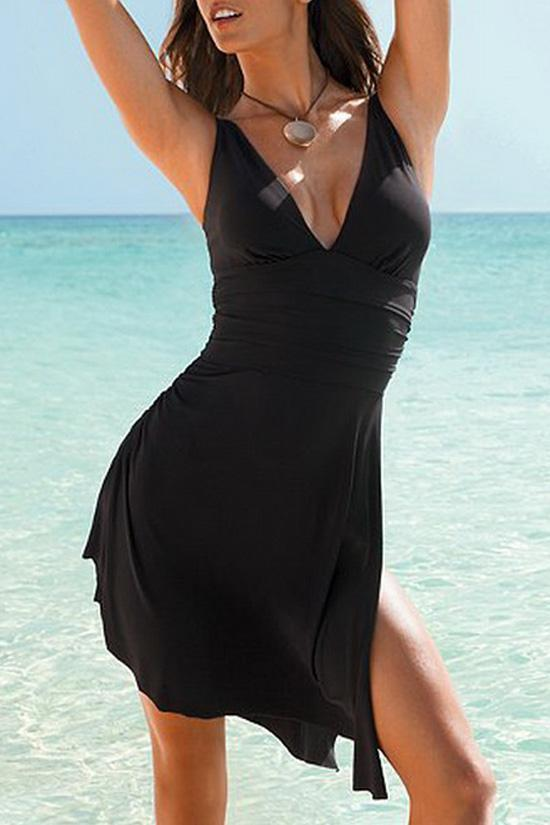One Piece Black Multiway Plungde Swimsuit SO304
