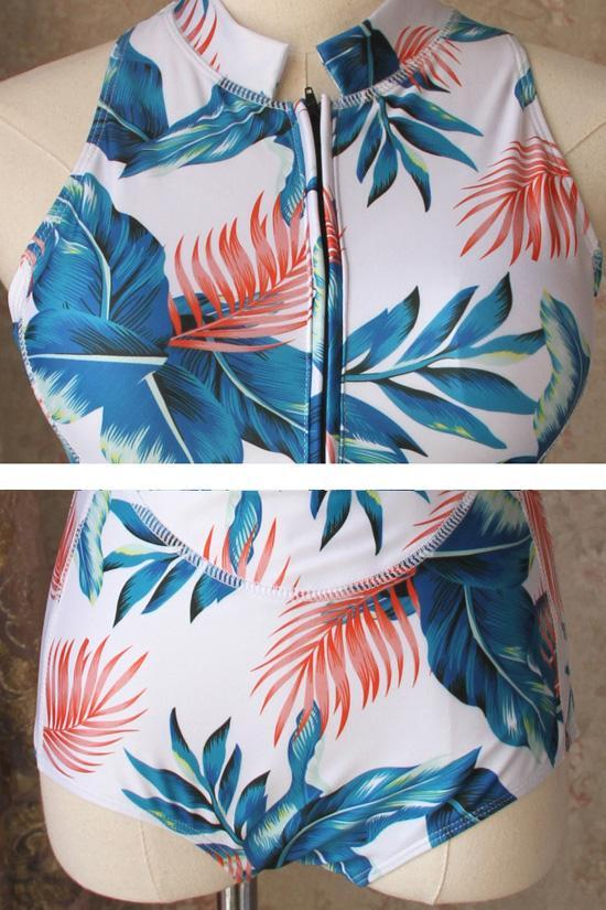 One Piece White Palm Leaf High Neck Swimsuit  SO048