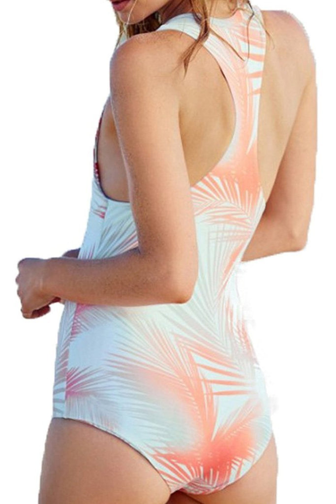 One Piece Orange Leaf High Neck Swimsuit  SO277