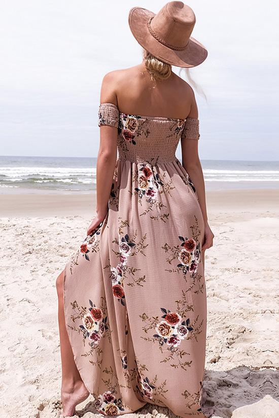 Off Shoulder Floral Beach Maxi Dress BS119